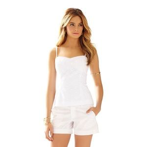 MCCALLUM FITTED EYELET SPAGHETTI STRAP TOP